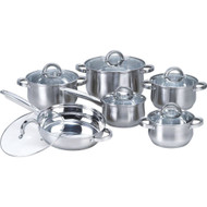 12-Piece Stainless Steel Cookware Set with Casseroles Frying Pan and Saucepan HC125091