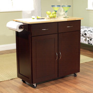 43-inch W Portable Kitchen Island Cart with Natural Wood Top in Espresso EKCWT188