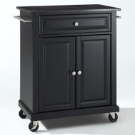 Black Mobile Kitchen Cart Island with Granite Top with Locking Casters CKCGTB229