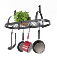 Oval Ceiling Mount Pot Rack in Hammered Steel with Drywall Anchors ERO89153