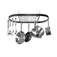 Ceiling Mount Wrought Iron Hanging Oval Pot Rack with 12 Hooks KCWIPR3915