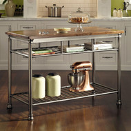 Classic French Style Hardwood Butcher Block Top Metal Kitchen Utility Table WBWT340518