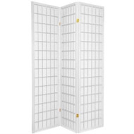 Japanese Asian Style 3-Panel Room Divider Shoji Screen in White WRD615643