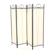 Black Metal 4-Panel Room Divider with Off-White Fabric Screen BDF111726