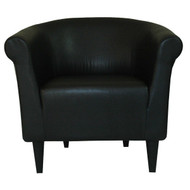 Contemporary Classic Black Faux Leather Upholstered Club Chair SCH598451