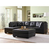 Black Faux Leather Sectional Sofa with Left Side Chaise CBLS652