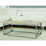 Contemporary Chrome Metal Coffee Table with Natural Finish Wood Top MRN58618914