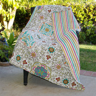 100% Cotton Throw Quilt Blanket with Bohemian Style Floral Pattern GFET335481