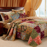 Full/Queen size 100% Cotton Patchwork Quilt Set with Floral Paisley Pattern GHFQ9904