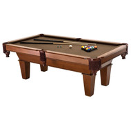 7Ft Brown Wool Cloth Top Pool Table with 2 Cues and Billiards Balls FC7F859