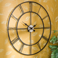 Oversized 30-inch Black Wall Clock with Roman Numerals COBWC6435