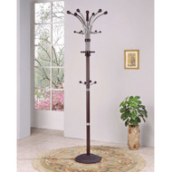 Wood and Metal Coat Rack Hat Stand with Hooks on Top and Middle AHWM4972