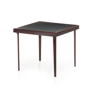 Square 32-inch Premium Wood Folding Table with Black Faux Leather Inset C32SPFT6915