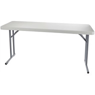 Steel Frame Rectangular Folding Table with Speckled Gray Top NPS5768154