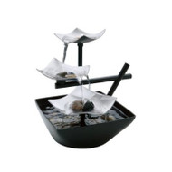Illuminated Silver Water Springs Relaxing Table Fountain with Stones HSPRFNS1597