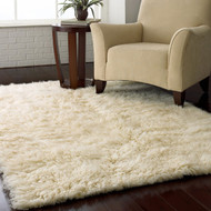 4-ft x 6-ft Hand Woven Wool Flokati Area Rug in Natural Color FXSF5841845161