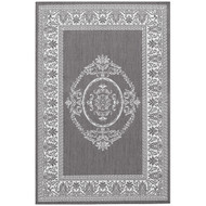 5'10 x 9'2 Grey White Medallion Indoor Outdoor Area Rug AMGYR130631