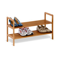 2-Tier Bamboo Shoe Shelf Rack - Holds 6 to 8 Pairs of Shoes HCDB2TS2047