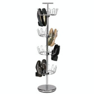 Chrome 4-Tier Revolving Shoe Rack Tree - Holds 24 Pairs HEFTR2435