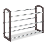 Expandable 3 Tier Shoe Rack in Faux Leather and Chrome W3TEFLSR2297