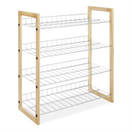4-Shelf Closet Shoe Rack with Natural Wood Frame and Chrome Wire Shelves WSC245068