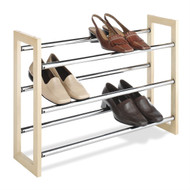 3-Tier Stackable & Expandable Shoe Rack in Wood & Chrome Metal WSRX199782