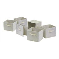 Set of 6 Foldable Fabric Storage Baskets in Beige WSC32515818