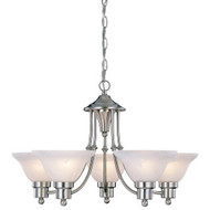 5-Light Brushed Nickel Chandelier with White Frosted Shades HB5LCBN5569