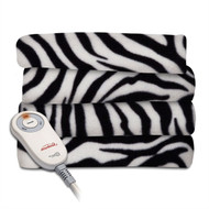 Zebra Fleece Heated Electric Throw Blanket in Black and White SFHEB519841