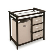 Baby Changing Table with 3 Baskets and Hamper in Espresso BMCTHE949