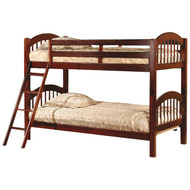 Twin over Twin Bunk Bed with Arch Headboard Footboard in Cherry TABEC2681541