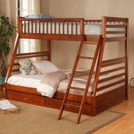 Twin over Full Bunk Bed with Storage Drawers in Oak Finish CDTOFBWS540