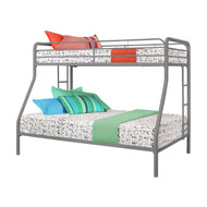 Twin over Full size Sturdy Metal Bunk Bed in Silver Finish DSTFB1981