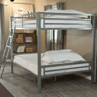 Full over Full size Bunk Bed with Ladder in Silver Metal Finish FHDB51818652