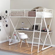 Modern Twin size Bunk Bed Loft with Desk in White Metal Finish WLBSD2951