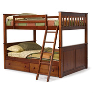 Full over Full size Bunk Bed in Solid Hardwood with Chocolate Brown Finish WPFBC586181