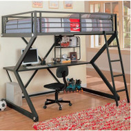 Full-size Metal Bunk Style Loft Bed with Desk WHFWBWD584