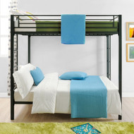 Full over Full size Sturdy Black Metal Bunk Bed DFOFB22988