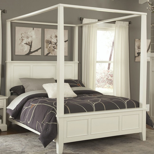 King size contemporary canopy bed in white wood finish - Canopy bed in small room ...