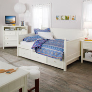 Full size White Wood Daybed with Pull Out Trundle CDWF79915