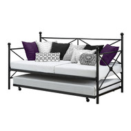 Twin size Black Metal Day Bed Frame and Roll out Trundle Set TDBD516518591
