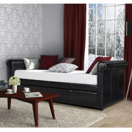Twin size Brown Faux Leather Upholstered Daybed with Trundle GDWTD518451