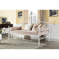 Twin size White Metal Daybed w/Scrolling Final Detailing - 600 lb Weight Limit TWDB518612