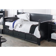 Twin size Black Wood Daybed with Pull-out Trundle Bed CDBT699421