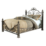 Queen size Baroque Style Metal Bed with Headboard and Footboard BQBF564