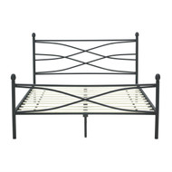 Queen size Matte Black Metal Platform Bed Frame with Headboard and Footboard QMPBBHF5181