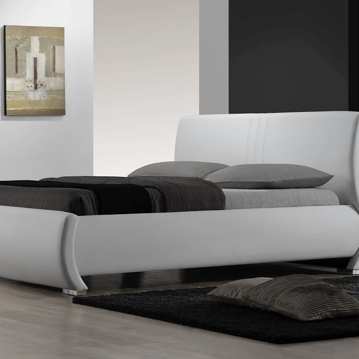 King Size White Upholstered Platform Bed With Curved Headboard