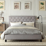 Queen size Button Tufted Grey Upholstered Platform Bed MDPB3901561