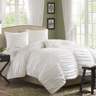 King size 4 Piece Comforter Set in Rouched White Cotton & Microsuede D4PCWK95671
