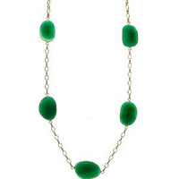 Herco 14k Yellow Gold Green Agate Necklace 18''